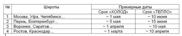 Таблица сроков посева